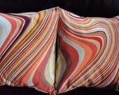 Throw pillow covers orange green red brown swirl wave design cushion shams UK designer fabric covers 16 x 16 inch handmade
