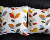 Pillow covers orange blue olive red yellow grey gray brown leaf design cushion shams fabric covers Two 18 x 18 inch handmade