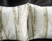 Throw pillows Silver birch trees Cushion covers cases designer fabric cream beige brown Two 16 x 16 inch