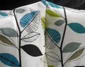 Decorative pillows teal blue turquoise lime green gray grey leaf design cushion shams UK designer fabric Two 18 x 18 inch handmade