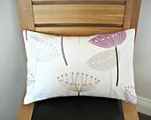 Lumbar pillows covers light plum beige gray dandelion clock seed heads cushion shams Throw pillow UK designer fabric one 12 x 18 inch
