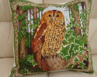Pillow Owl Barred Owl green brown  Cushion cover 16 x 16 inch handmade case sham woodland nature tree leaves