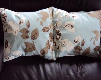 Throw pillow blue brown leaf and bracken design cushion shams UK designer fabric covers two 16 x 16  inch handmade autumn