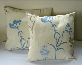 Decorative pillow blue brown cow parsley flowers design cushion shams UK designer fabric covers Two 16 x 16 inch handmade