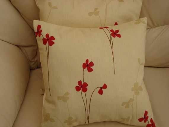 Throw Pillow Red Poppy Pattern Cushion Covers Cases By Veedubz