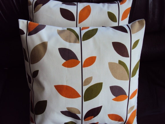 Throw Pillow Covers Orange Brown Black Green Grey Gray By