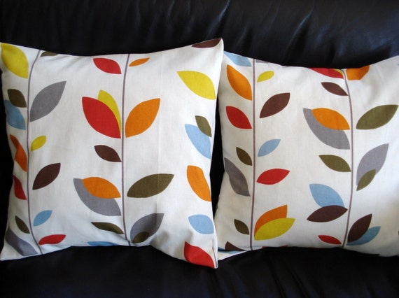 Throw Pillow Covers Orange Blue Olive Red Yellow Grey By