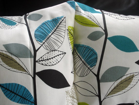 Decorative Pillows Teal Blue Turquoise Lime Green Gray By