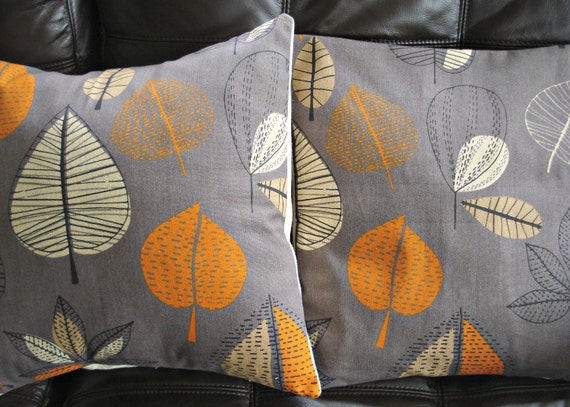 decorative pillows orange slate gray gray maple leaves by veedubz. Black Bedroom Furniture Sets. Home Design Ideas