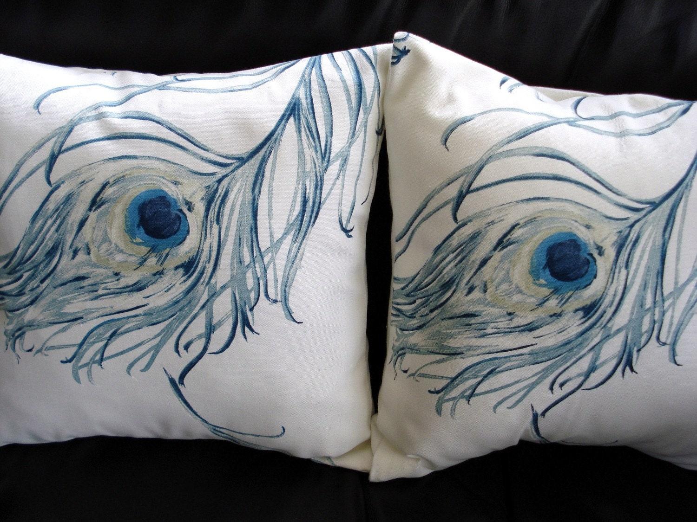Throw Pillows With Feather Design : Throw pillow covers indigo blue peacock feather design by VeeDubz