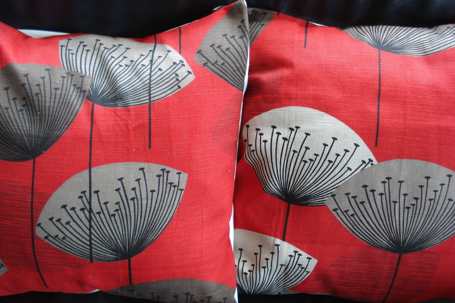 Decorative Pillows Red And Black : Throw pillows covers red grey gray black dandilion by VeeDubz
