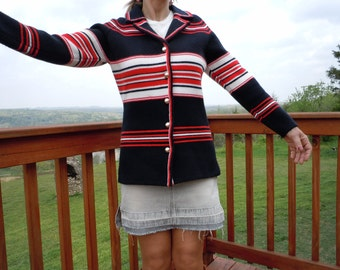 FREE SHIPPING Vintage 1960s Red White & Black Sweater