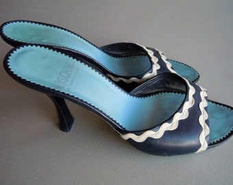 FREE SHIPPING Vintage 90s Moschino Navy and White Rick Rack Slings Shoes Made In Italy
