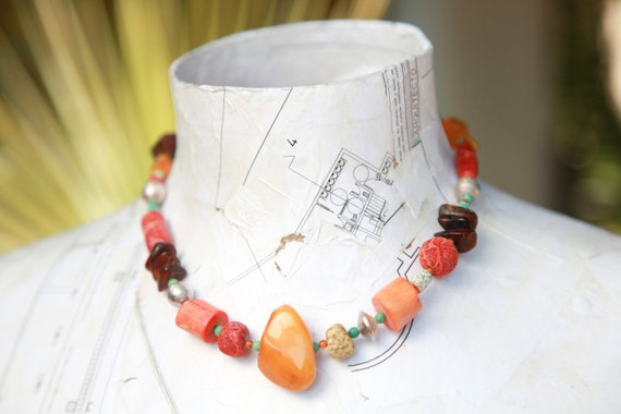 BALTIC AMBER NECKLACE with coral, sterling silver, turquoise, harvest colors, fall fashion