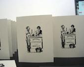 Saddleback Oysters Gocco Screen Printed Card