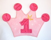 Pink and sparkly hot pink crown applique - DIY iron on applique - sew or no sew patch - Personalized Monograming - U pick colour