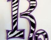 Zebra with purple outline big curlz letters applique - DIY iron on patch - Sew or no sew - U pick letter