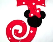 Big Curlz letter with Mouse head red polka dot bow iron on Applique - DIY Iron on Patch - Personalized monogramming - U pick colour.