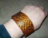 King Cobra and Tan Leather Wristband