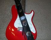 Concho Fringe Guitar Strap Adjustable Concho Black Leather Fringe Strap