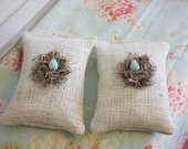 Burlap sachets with handmade bird nest,As Seen on HGTV