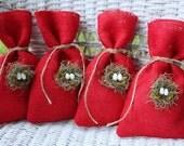 Bird nest gift bags red burlap