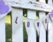 Love banner with fabric hearts