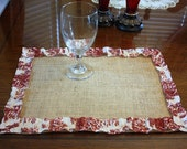 Set of 4 placemats burlap with toile ruffles