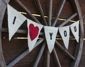 I LOVE YOU burlap banner with red fabric heart
