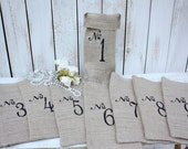 Burlap table numbers set of 10,gift bags, for bottles