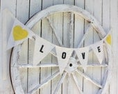 Love banner with  lace string,canary hearts