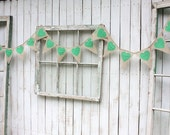 Burlap Heart garland with kelly green hearts