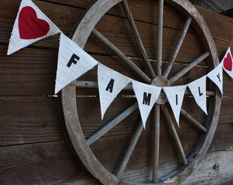 Family burlap banner with red fabric hearts