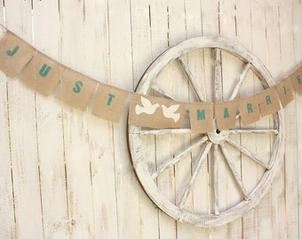 Just Married burlap banner with white doves , Aqua blue font