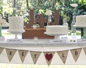 Sweet Love burlap banner with heart color of your choice