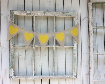 Heart Garland with canary yellow hearts