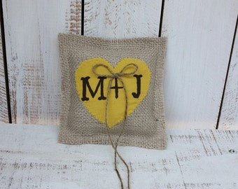 Western,Rustic style ring bearer pillow with canary yellow heart personalized with your initials