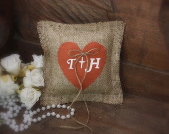 Rustic  ring bearer pillow with burnt orange heart personalized with your initials