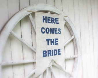 Here Comes The Bride banner,Navy blue font