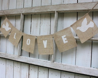 Love banner with white doves