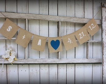 Cust banner with your wedding date with teal heart