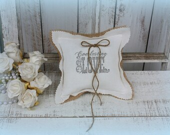 Everlasting Love Ring bearer pillow,made with a vintage feedsack