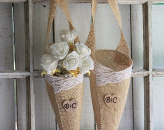 Flower Girl or Chair Cones personalized with your initials,set of two