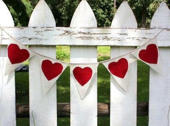 Heart  banner,cream burlap,romantic