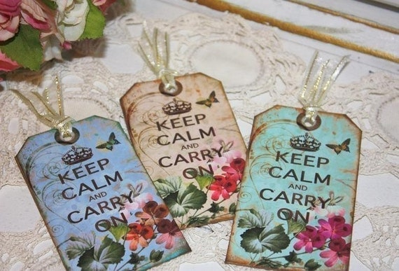 Keep Calm Carry on gift tags-butterflies,dragonflies,roses,floral,crown,french,paris