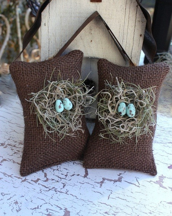 Chocolate birdnest sachets filled with Lavender buds,As seen on HGTV