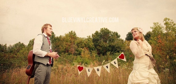 Love Photo Prop with red fabric hearts