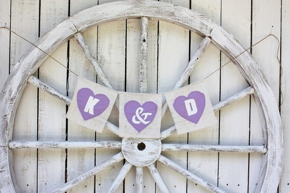 Burlap banner personalized with your initials,lavender hearts