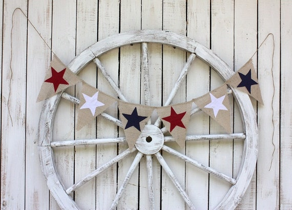 Star burlap banner, red white blue,patriotic,4th of july
