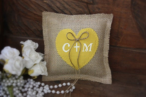 Personalized ring bearer pillow as seen in Southern Wedding magazine